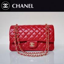 CHANEL 1112-19 新款經典款紅色羊皮金鏈菱格單肩斜挎女包