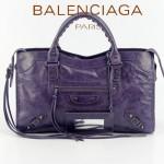 BALENCIAGA 085332-53-紫藍進口油皮卡古銅小釘巴黎世家女士手提包 時尚單肩包