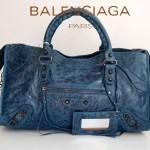 BALENCIAGA 084328-寶藍-克小釘-羊皮 巴黎世家 女士時尚手提包
