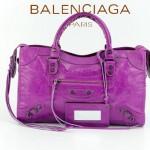 BALENCIAGA 085332-51-中紫進口油皮卡古銅小釘巴黎世家女士手提包 時尚單肩包