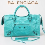 BALENCIAGA 085332-9-湖水藍進口油皮卡古銅小釘 巴黎世家女士手提包 時尚單肩包