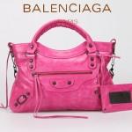 BALENCIAGA 085331-10 -紫紅色進口油皮卡古銅小釘 巴黎世家女士手提包 時尚單肩包