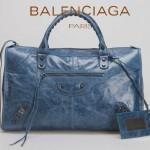 BALENCIAGA 085324S-寶藍進口小釘 巴黎世家女士時尚氣質手提包