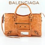 BALENCIAGA 085332-20-淺橙進口油皮卡古銅小釘 巴黎世家女士手提包 時尚單肩包