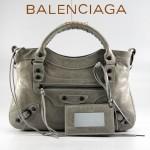 BALENCIAGA 085331-6 -淺紅進口油皮卡古銅小釘 巴黎世家女士手提包 時尚單肩包