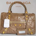 BALENCIAGA 084324B-2-銀灰色羊皮 巴黎世家 女士時尚手提包