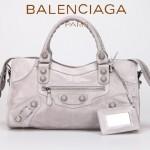 BALENCIAGA 085328A-3 -淺灰進口白大釘 巴黎世家女士時尚手提包 氣質單肩包