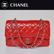 CHANEL 1112-18 新款經典款紅色漆皮銀鏈單肩斜挎女包