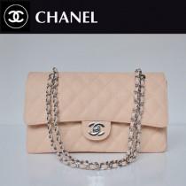 CHANEL 1113-11 爆款經典粉色銀鏈魚子醬皮菱格時尚晚宴鏈條包單肩包