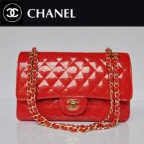CHANEL 1112-17 新款經典款紅色漆皮金鏈菱格單肩斜挎女包