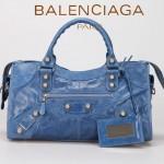 BALENCIAGA 085328A-1 -寶藍進口白大釘 巴黎世家女士時尚手提包 氣質單肩包