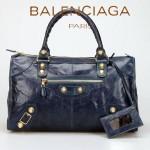 BALENCIAGA 085324B-寶藍 大金釘 巴黎世家女士時尚氣質手提包