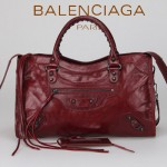 BALENCIAGA 085332-15-酒紅進口油皮卡古銅小釘 巴黎世家女士手提包 時尚單肩包