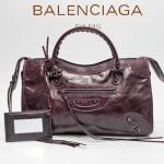 BALENCIAGA 085332-36-深紫進口油皮卡古銅小釘 巴黎世家女士手提包 時尚單肩包