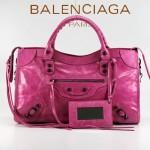 BALENCIAGA 085332-52-紫紅進口油皮卡古銅小釘巴黎世家女士手提包 時尚單肩包