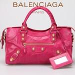BALENCIAGA 085328B-6 -桃紅進口金大釘 巴黎世家女士時尚手提包 氣質單肩包