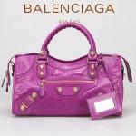 BALENCIAGA 085328B-7 -中紫進口金大釘 巴黎世家女士時尚手提包 氣質單肩包