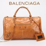 BALENCIAGA 085324S-5 -水蜜桃色進口小釘 巴黎世家女士時尚氣質手提包