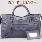 BALENCIAGA 085332-11-灰藍進口油皮卡古銅小釘 巴黎世家女士手提包 時尚單肩包