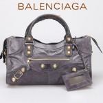 BALENCIAGA 085328B-5 -深灰進口金大釘 巴黎世家女士時尚手提包 氣質單肩包