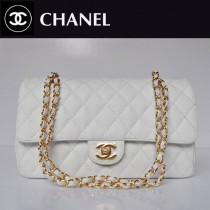 CHANEL 1113-4 名牌白色金鏈女包雙C菱格包小女士魚子醬皮單肩包