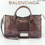BALENCIAGA 085332-12-灰紫色進口油皮卡古銅小釘 巴黎世家女士手提包 時尚單肩包