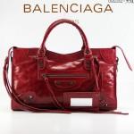 BALENCIAGA 085332-2 -大紅色進口油皮卡古銅小釘 巴黎世家女士手提包 時尚單肩包