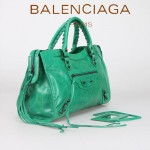 BALENCIAGA 085332-30-青草綠進口油皮卡古銅小釘 巴黎世家女士手提包 時尚單肩包