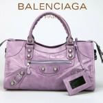 BALENCIAGA 085328A-4 -茄紫進口白大釘 巴黎世家女士時尚手提包 氣質單肩包