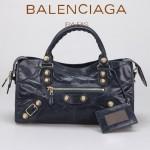 BALENCIAGA 085328B -寶藍進口金大釘 巴黎世家女士時尚手提包 氣質單肩包
