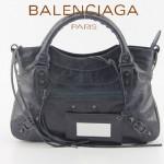 BALENCIAGA 085331-8 -深寶藍進口油皮卡古銅小釘 巴黎世家女士手提包 時尚單肩包