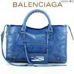 BALENCIAGA 085332-5 -海藍色進口油皮卡古銅小釘 巴黎世家女士手提包 時尚單肩包