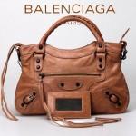 BALENCIAGA 331-杏色 進口皮 巴黎世家時尚手提包 女士單肩包