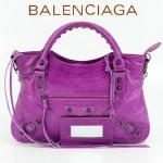 BALENCIAGA 085331-9 -中紫色進口油皮卡古銅小釘 巴黎世家女士手提包 時尚單肩包