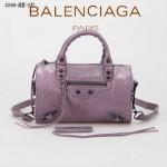 BALENCIAGA 331684-6 歐美新款女士MINI TWIGGY茄紫色進口皮配黑小釘單肩手提包