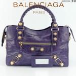 BALENCIAGA 085332B-13 潮流時尚新款紫藍色進口油臘皮金大釘機車包