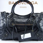 BALENCIAGA 115748S-2 时尚新款City黑色進口軟油臘皮機車包