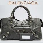 BALENCIAGA 173082A-2 歐美時尚新款深銀灰進口軟油臘皮機車包