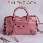 BALENCIAGA 300298-7 簡約復古新款女士粉紅色進口油臘皮機車包