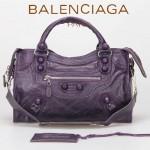 BALENCIAGA 085832 潮流個性新款深紫色花邊穿孔皮釘機車包手提包