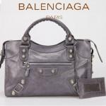 BALENCIAGA 085332A-11-深灰進口油皮銀色大釘 巴黎世家女士手提包 時尚單肩包