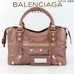 BALENCIAGA 085332B-9 潮流時尚新款水蜜桃色進口油臘皮金大釘機車包