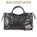 BALENCIAGA 085332D-3 歐美復古女士黑色進口油臘皮小花釘單肩手提包