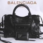 BALENCIAGA 300298-5 簡約復古新款女士黑色進口油臘皮機車包