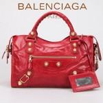 BALENCIAGA 085332B 潮流時尚新款大紅色進口油臘皮金大釘機車包