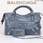 BALENCIAGA 085332A-1-寶藍進口油皮銀色大釘 巴黎世家女士手提包 時尚單肩包