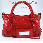 BALENCIAGA 103208-3 時尚女士CLASSIC FIRST紅色進口軟油臘皮機車包