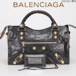 BALENCIAGA 085332B-3 潮流時尚新款黑色進口油臘皮金大釘機車包