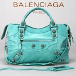 BALENCIAGA 085332A-5-湖水綠銀色大釘 巴黎世家女士手提包 時尚單肩包