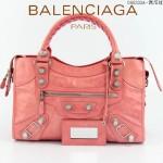 BALENCIAGA 085332A-12-西瓜紅進口油皮銀色大釘 巴黎世家女士手提包 時尚單肩包